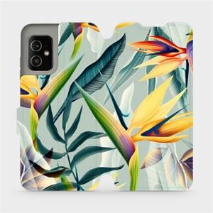 Flip pouzdro Mobiwear na mobil Asus Zenfone 8 - MC02S Žluté velké květy a zelené listy