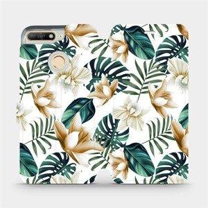 Flipové pouzdro Mobiwear na mobil Huawei Y6 Prime 2018 - MC07P Zlatavé květy a zelené listy
