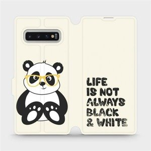 Flipové pouzdro Mobiwear na mobil Samsung Galaxy S10 Plus - M041S Panda - life is not always black and white