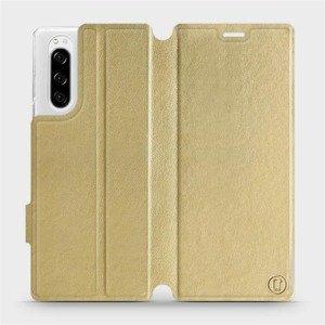 Flipové pouzdro Mobiwear na mobil Sony Xperia 5 v provedení C_GOS Gold&Gray s šedým vnitřkem