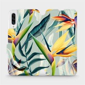 Flipové pouzdro Mobiwear na mobil Samsung Galaxy A30s - MC02S Žluté velké květy a zelené listy