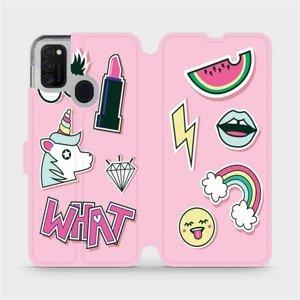 Flipové pouzdro Mobiwear na mobil Samsung Galaxy M21 - M129S Růžové WHAT