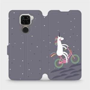 Flipové pouzdro Mobiwear na mobil Xiaomi Redmi Note 9 - V024P Jednorožec na kole