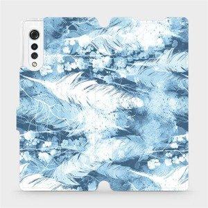 Flipové pouzdro Mobiwear na mobil LG Velvet - M058S Světle modrá horizontální pírka