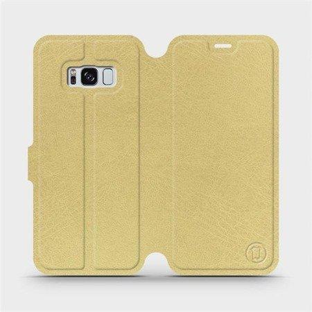 Parádní flip pouzdro Mobiwear na mobil Samsung Galaxy S8 v provedení C_GOP Gold&Orange s oranžovým vnitřkem