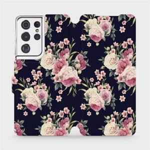 Flipové pouzdro Mobiwear na mobil Samsung Galaxy S21 Ultra 5G - V068P Růžičky