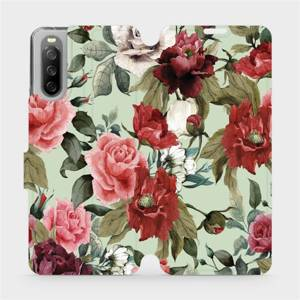 Flip pouzdro Mobiwear na mobil Sony Xperia 10 III - MD06P Růže a květy na světle zeleném pozadí