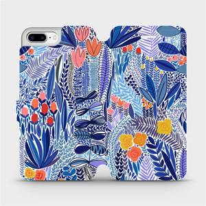 Flip pouzdro Mobiwear na mobil Apple iPhone 7 Plus - MP03P Modrá květena