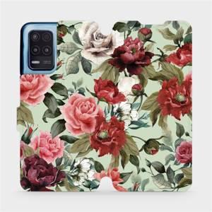 Flip pouzdro Mobiwear na mobil Realme 8 5G - MD06P Růže a květy na světle zeleném pozadí