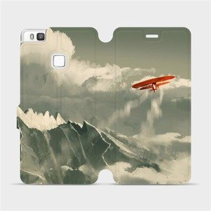 Flipové pouzdro Mobiwear na mobil Huawei P9 Lite - MA03P Oranžové letadlo v horách