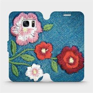 Flipové pouzdro Mobiwear na mobil Samsung Galaxy S7 - MD05P Džínové květy