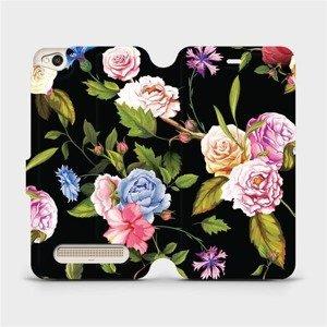 Flipové pouzdro Mobiwear na mobil Xiaomi Redmi 4A - VD07S Růže a květy na černém pozadí