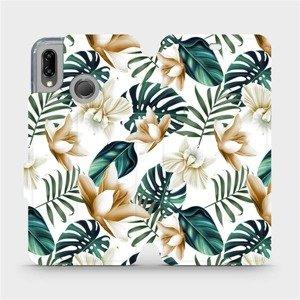 Flipové pouzdro Mobiwear na mobil Huawei P20 Lite - MC07P Zlatavé květy a zelené listy