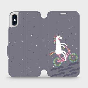 Flipové pouzdro Mobiwear na mobil Apple iPhone XS - V024P Jednorožec na kole