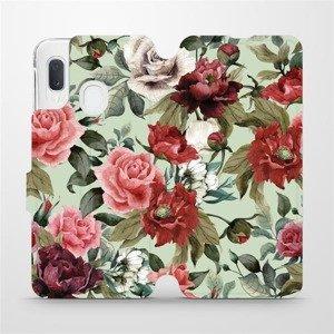 Flipové pouzdro Mobiwear na mobil Samsung Galaxy A20e - MD06P Růže a květy na světle zeleném pozadí