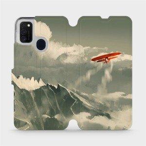 Flipové pouzdro Mobiwear na mobil Samsung Galaxy M21 - MA03P Oranžové letadlo v horách