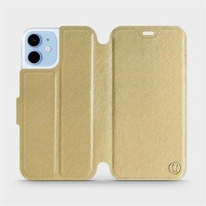 Flipové pouzdro Mobiwear na mobil Apple iPhone 12 mini v provedení C_GOS Gold&Gray s šedým vnitřkem