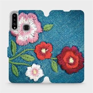 Flipové pouzdro Mobiwear na mobil Samsung Galaxy A20S - MD05P Džínové květy