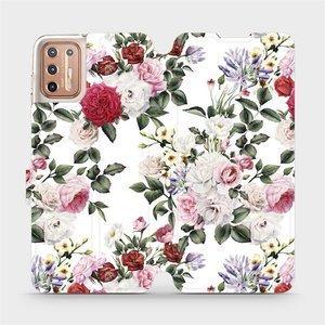Flipové pouzdro Mobiwear na mobil Motorola Moto G9 Plus - MD01S Růže na bílé