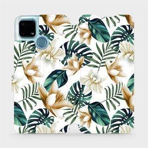 Flip pouzdro Mobiwear na mobil Realme 7i - MC07P Zlatavé květy a zelené listy