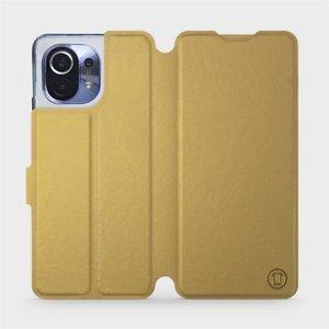 Flipové pouzdro Mobiwear na mobil Xiaomi Mi 11 v provedení C_GOP Gold&Orange s oranžovým vnitřkem