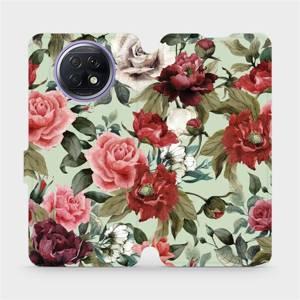 Flipové pouzdro Mobiwear na mobil Xiaomi Redmi Note 9T 5G - MD06P Růže a květy na světle zeleném pozadí