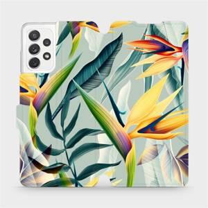 Flipové pouzdro Mobiwear na mobil Samsung Galaxy A72 - MC02S Žluté velké květy a zelené listy