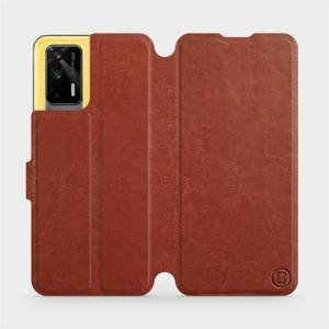 Flipové pouzdro Mobiwear na mobil Realme GT 5G v provedení C_BRP Brown&Orange s oranžovým vnitřkem