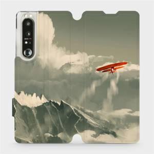 Flip pouzdro Mobiwear na mobil Sony Xperia 1 III - MA03P Oranžové letadlo v horách