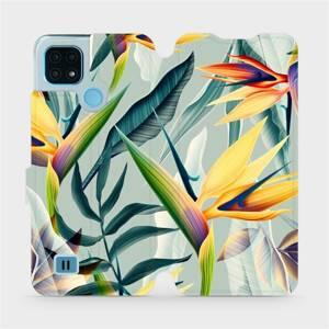 Flip pouzdro Mobiwear na mobil Realme C21 - MC02S Žluté velké květy a zelené listy