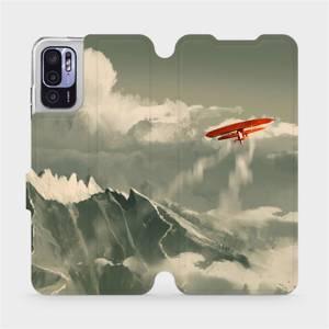 Flip pouzdro Mobiwear na mobil Xiaomi Redmi Note 10 5G - MA03P Oranžové letadlo v horách