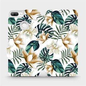 Flipové pouzdro Mobiwear na mobil Honor 9 Lite - MC07P Zlatavé květy a zelené listy