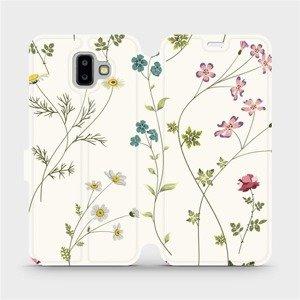 Flipové pouzdro Mobiwear na mobil Samsung Galaxy J6 Plus 2018 - MD03S Tenké rostlinky s květy
