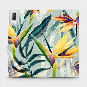 Flipové pouzdro Mobiwear na mobil Sony Xperia L3 - MC02S Žluté velké květy a zelené listy