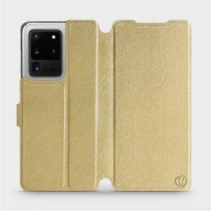 Flipové pouzdro Mobiwear na mobil Samsung Galaxy S20 Ultra v provedení C_GOP Gold&Orange s oranžovým vnitřkem