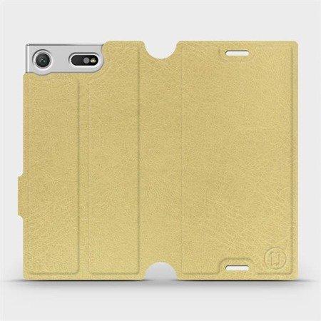 Parádní flip pouzdro Mobiwear na mobil Sony Xperia XZ1 Compact v provedení C_GOP Gold&Orange s oranžovým vnitřkem