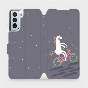 Flipové pouzdro Mobiwear na mobil Samsung Galaxy S21 Plus 5G - V024P Jednorožec na kole
