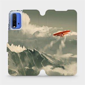 Flipové pouzdro Mobiwear na mobil Xiaomi Redmi 9T - MA03P Oranžové letadlo v horách