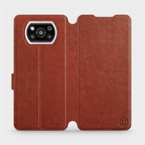 Flipové pouzdro Mobiwear na mobil Xiaomi Poco X3 Pro v provedení C_BRP Brown&Orange s oranžovým vnitřkem