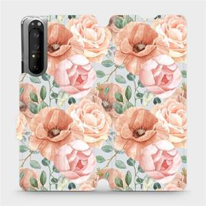 Flip pouzdro Mobiwear na mobil Sony Xperia 1 II - MP02S Pastelové květy