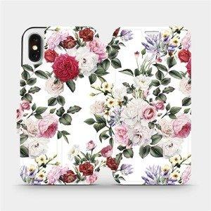 Flipové pouzdro Mobiwear na mobil Apple iPhone X - MD01S Růže na bílé