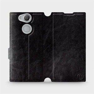 Parádní flip pouzdro Mobiwear na mobil Sony Xperia XA2 v provedení C_BLP Black&Orange s oranžovým vnitřkem