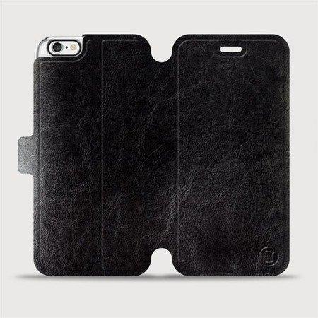 Parádní flip pouzdro Mobiwear na mobil Apple iPhone 6 / iPhone 6s v provedení C_BLP Black&Orange s oranžovým vnitřkem