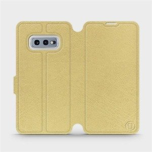 Flipové pouzdro Mobiwear na mobil Samsung Galaxy S10e v provedení C_GOS Gold&Gray s šedým vnitřkem