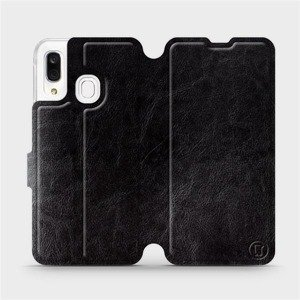 Flipové pouzdro Mobiwear na mobil Samsung Galaxy A40 v provedení C_BLS Black&Gray s šedým vnitřkem