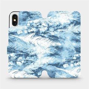 Flipové pouzdro Mobiwear na mobil Apple iPhone X - M058S Světle modrá horizontální pírka
