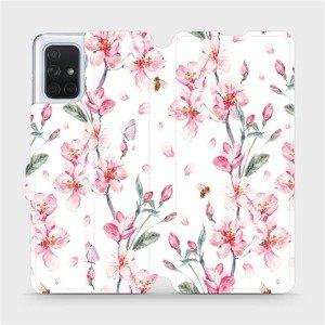 Flipové pouzdro Mobiwear na mobil Samsung Galaxy A71 - M124S Růžové květy