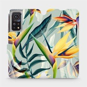 Flipové pouzdro Mobiwear na mobil Xiaomi MI 10T Pro - MC02S Žluté velké květy a zelené listy