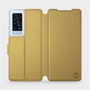 Flip pouzdro Mobiwear na mobil Vivo X60 Pro 5G v provedení C_GOP Gold&Orange s oranžovým vnitřkem