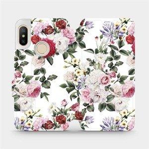 Flipové pouzdro Mobiwear na mobil Xiaomi Mi A2 Lite - MD01S Růže na bílé